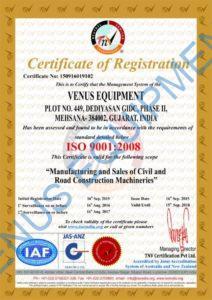 iso certification of venus equipment